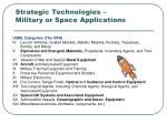 strategic technologies military or space applications