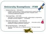 university exemptions itar