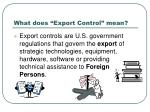 what does export control mean