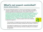 what s not export controlled details details details