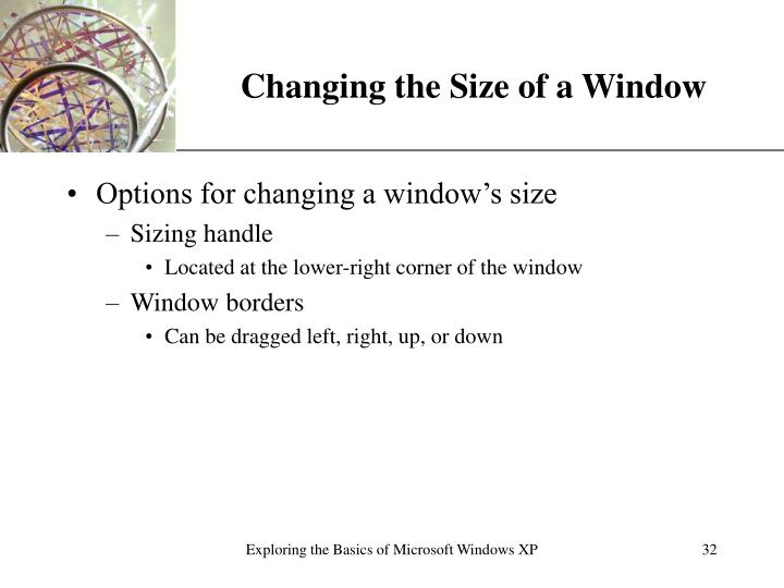 Changing the Size of a Window