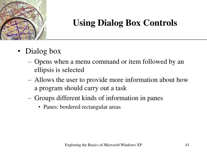 Using Dialog Box Controls