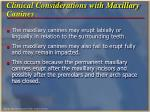 clinical considerations with maxillary canines