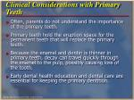 clinical considerations with primary teeth