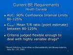current be requirements health canada