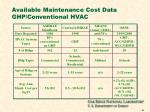 available maintenance cost data ghp conventional hvac