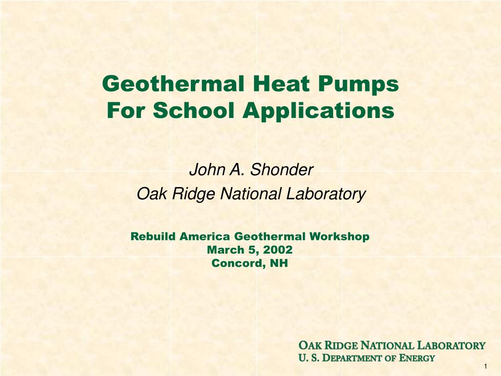 geothermal heat pumps for school applications l.