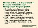 mission of the u s department of energy s federal energy management program femp