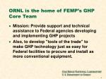 ornl is the home of femp s ghp core team