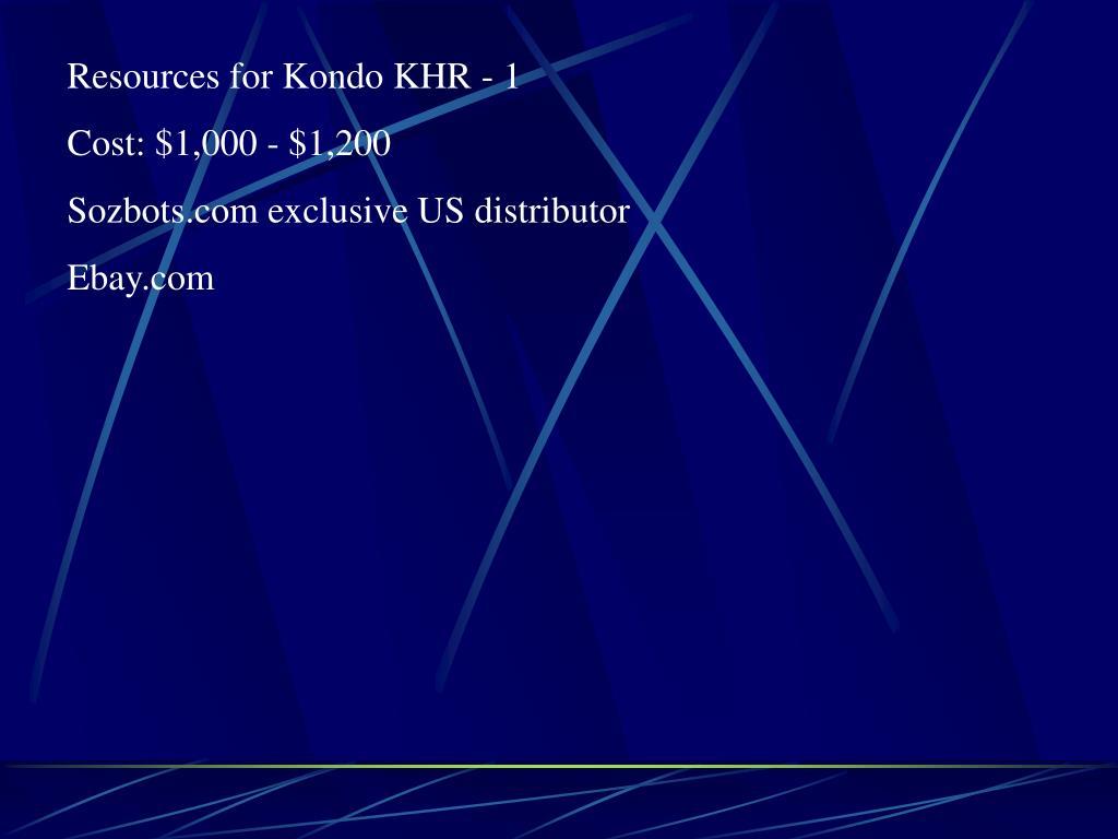 Resources for Kondo KHR - 1