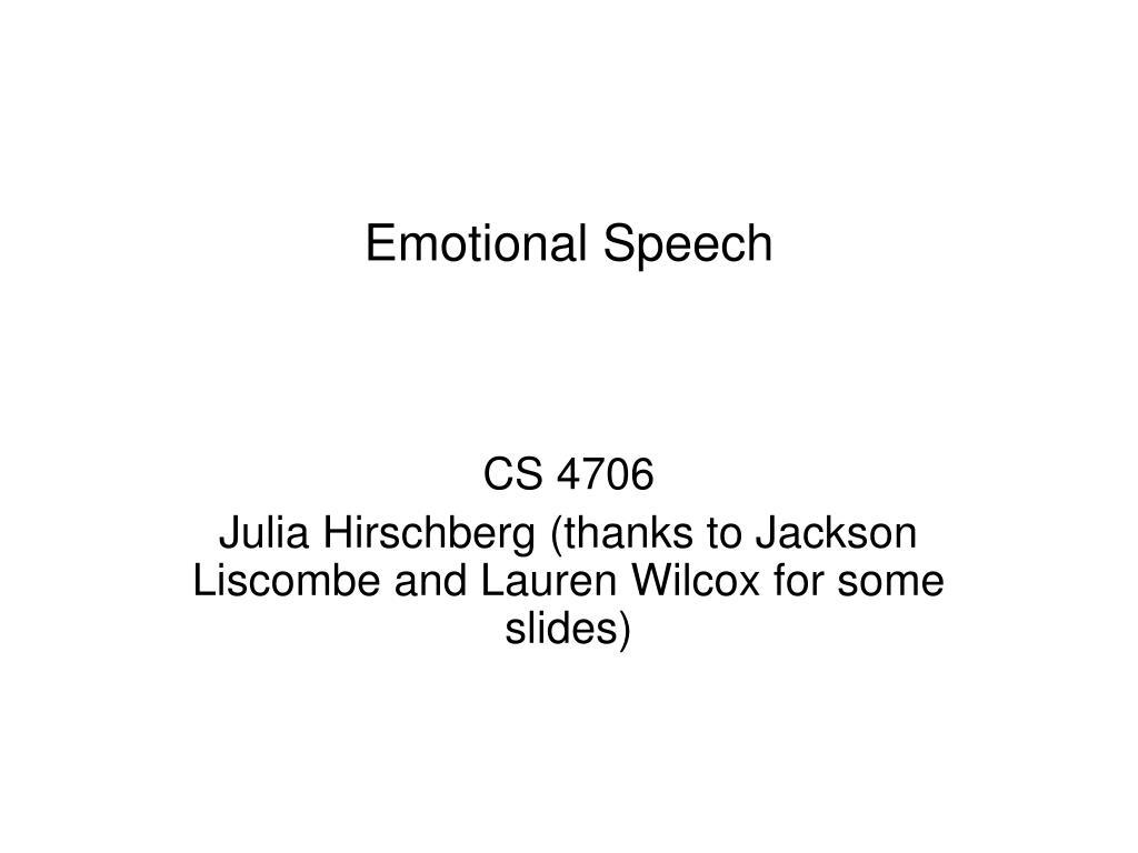 emotional speech l.
