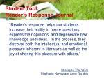student tool reader s response journal