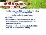 teacher tool student tool shared reading