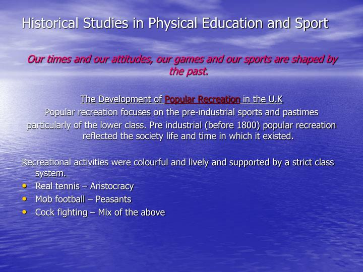 historical studies in physical education and sport n.