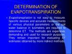 determination of evapotranspiration