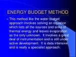 energy budget method