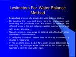 lysimeters for water balance method