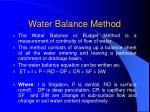 water balance method