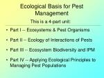 ecological basis for pest management91
