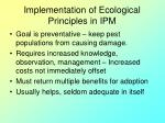 implementation of ecological principles in ipm