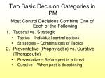 two basic decision categories in ipm