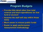 program budgets