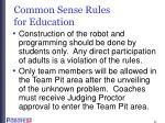 common sense rules for education