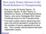 how many teams advance to the world robofest 07 championship