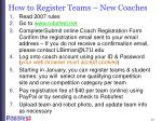 how to register teams new coaches