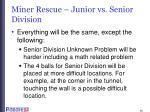 miner rescue junior vs senior division
