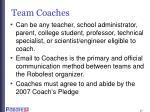 team coaches