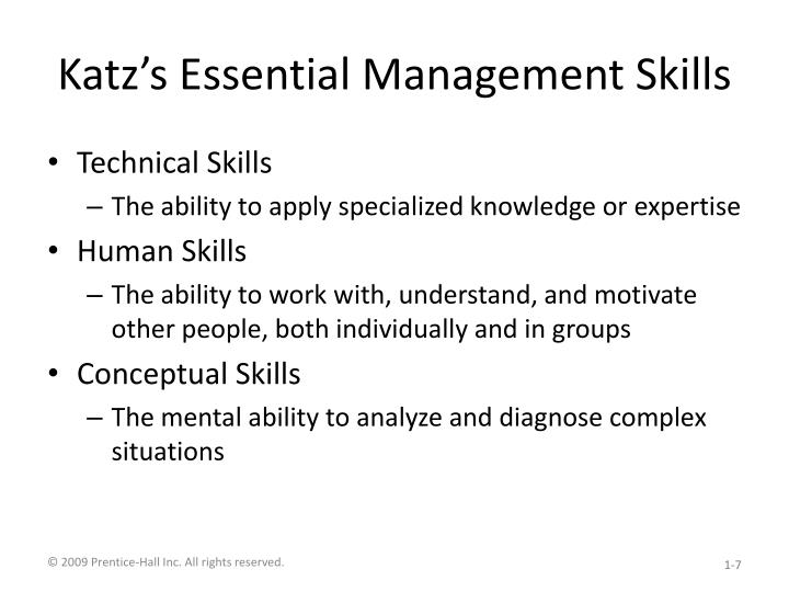 katz conceptual and human skills Basic administrative skills: technical, human, and conceptual human, and conceptual katz argued that these the skills approach can also be distinguished.