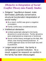obstacles to integration of social conflict theory into family studies