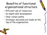 benefits of functional organizational structure