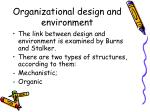 organizational design and environment