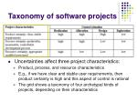 taxonomy of software projects