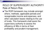 role of supervisory authority rate of return risk