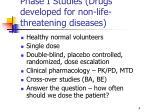 phase i studies drugs developed for non life threatening diseases