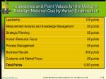 categories and point values for the malcolm baldrige national quality award examination