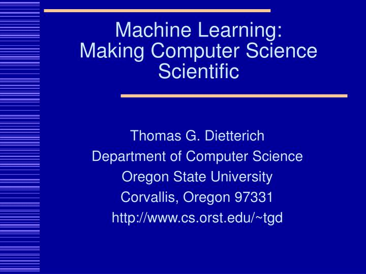 Machine learning making computer science scientific