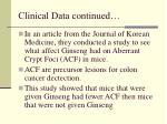 clinical data continued
