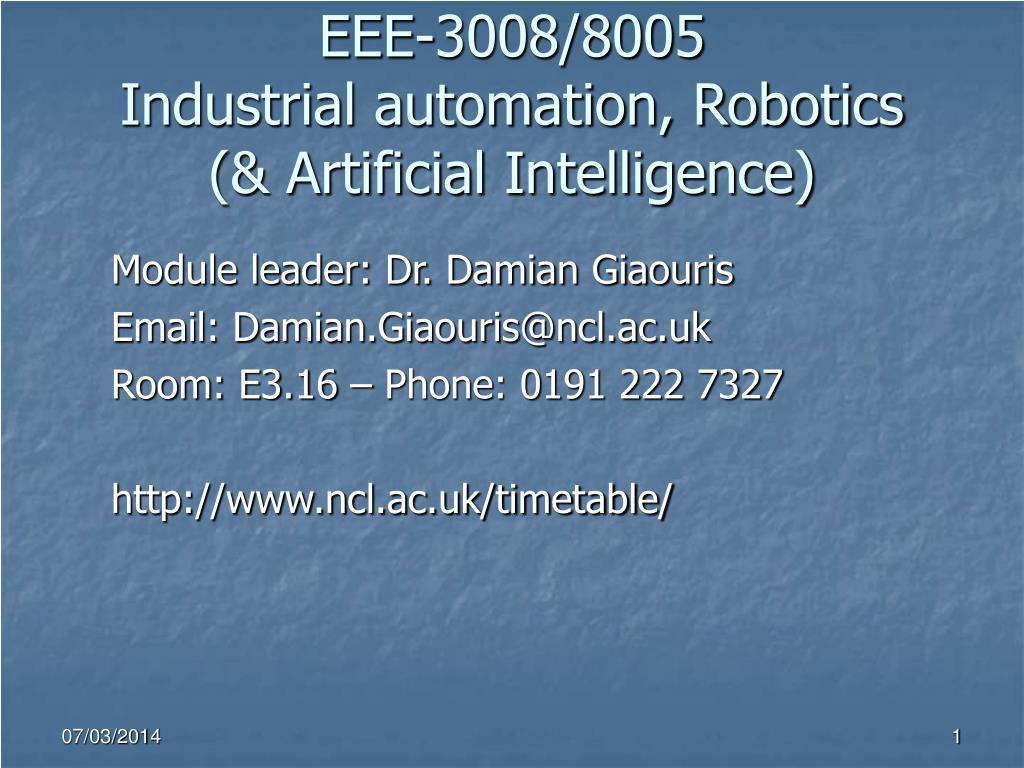eee 3008 8005 industrial automation robotics artificial intelligence l.