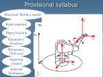 provisional syllabus