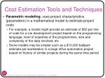 cost estimation tools and techniques1