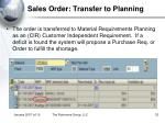 sales order transfer to planning