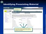 identifying preexisting material