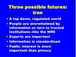 three possible futures iron