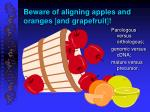 beware of aligning apples and oranges and grapefruit