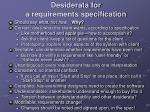 desiderata for a requirements specification