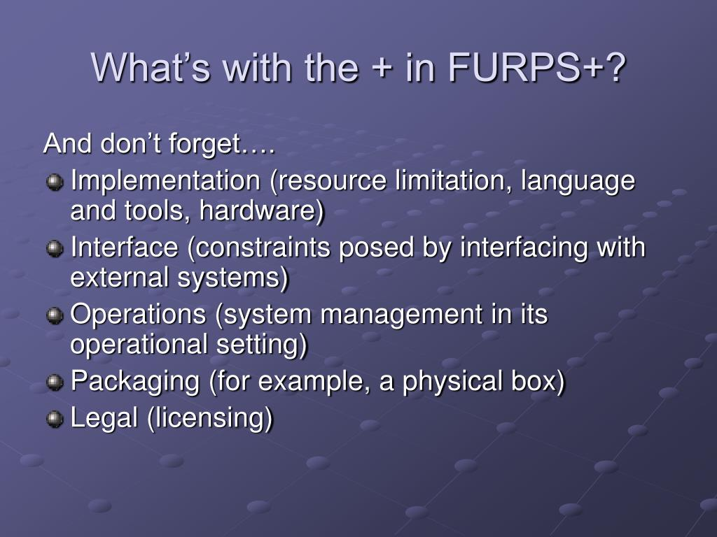 What's with the + in FURPS+?